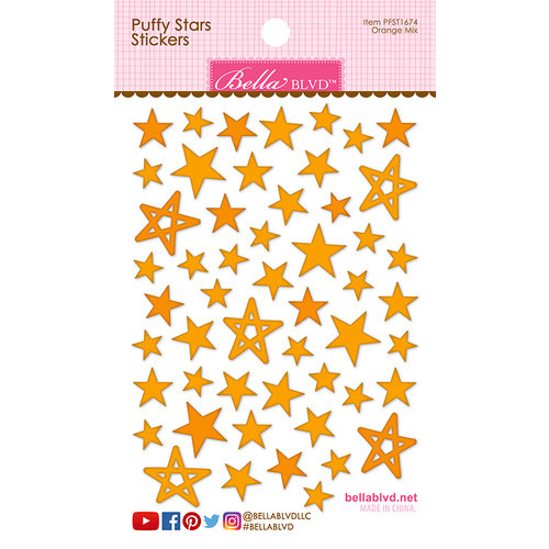 Bella Blvd Orange Puffy Star Stickers