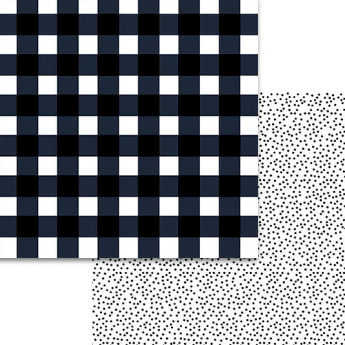 Bella Blvd - Plaids and Dotty Collection - 12 x 12 Double Sided Paper - Black