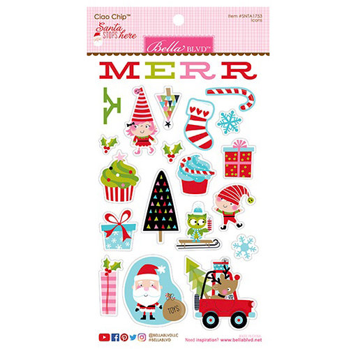 Bella Blvd - Santa Stops Here Collection - Christmas - Chipboard Stickers - Icons