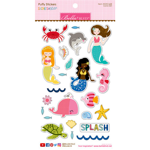 Bella Blvd - Secrets of the Sea Collection - Girl - Puffy Stickers - Icons