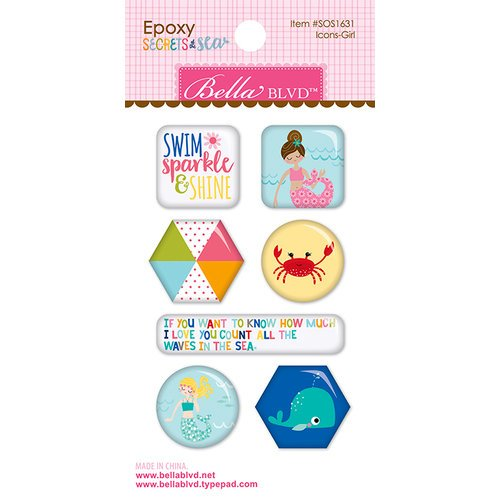 Bella Blvd - Secrets of the Sea Collection - Girl - Epoxy Stickers - Icons