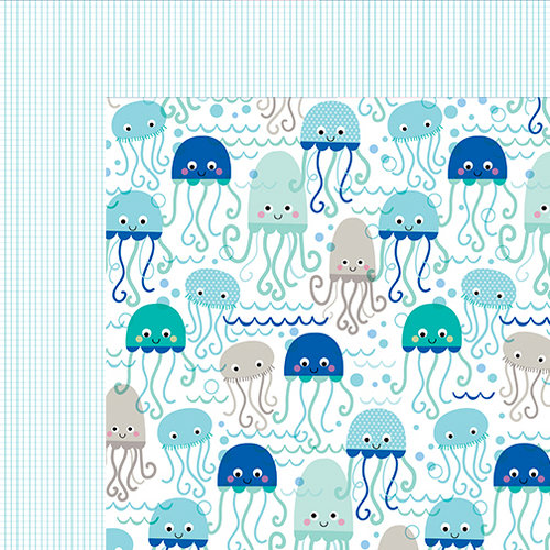 Bella Blvd - Secrets of the Sea Collection - Boy - 12 x 12 Double Sided Paper - Dancing Jellies