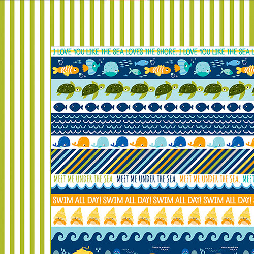 Bella Blvd - Secrets of the Sea Collection - Boy - 12 x 12 Double Sided Paper - Borders
