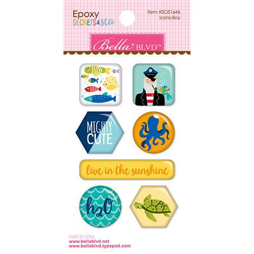 Bella Blvd - Secrets of the Sea Collection - Boy - Epoxy Stickers - Icons