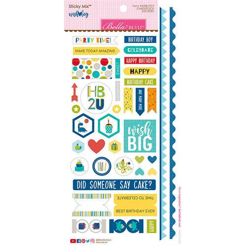 Bella Blvd - Wish Big Collection - Birthday Boy - Sticky Mix - Cardstock Stickers