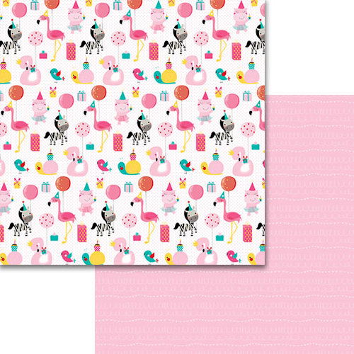 Bella Blvd - Wish Big Collection - Birthday Girl - 12 x 12 Double Sided Paper - Party Animal