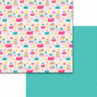 Bella Blvd - Wish Big Collection - Birthday Girl - 12 x 12 Double Sided Paper - Cake and Crowns