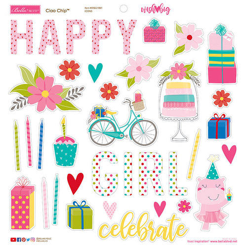 Bella Blvd - Wish Big Collection - Birthday Girl - Ciao Chip - Self Adhesive Chipboard - Icons