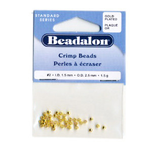 Beadalon - Jewelry - Crimp Beads - Size Number 2 - 2.5 mm - Gold Plated