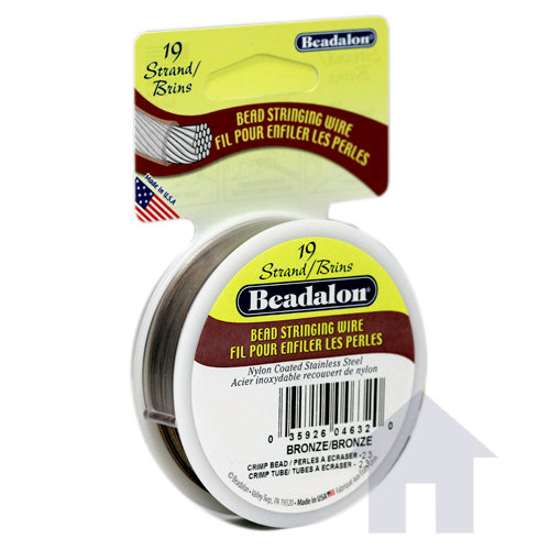 Beadalon - Jewelry - Bead Stringing Wire - 19 Strand - .018 Inches - 30 feet - Bronze