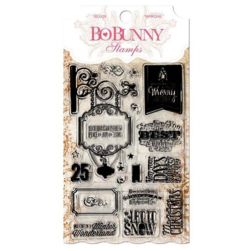 Bo Bunny - Christmas - Clear Acrylic Stamps - Holiday Wishes