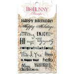 BoBunny - Essentials Collection - Clear Acrylic Stamp - Sentiments