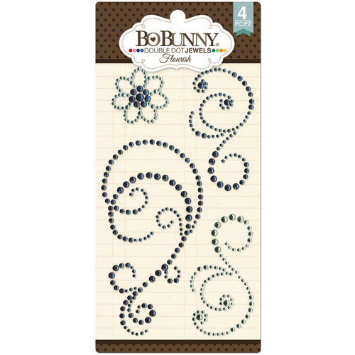 BoBunny - Double Dot Designs Collection - Bling - Flourish Jewels - Aqua