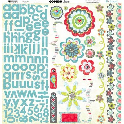 Bo Bunny - Alora Collection - 12 x 12 Cardstock Stickers - Combo