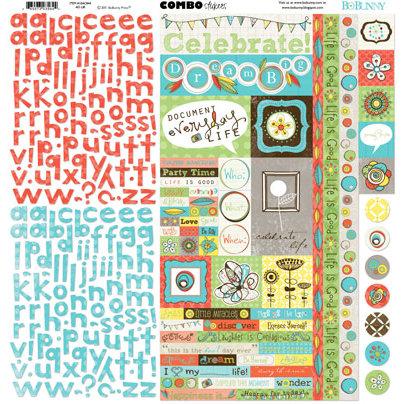 Bo Bunny Press - Ad Lib Collection - 12 x 12 Cardstock Stickers - Ad Lib Combo