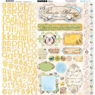 Bo Bunny - Country Garden Collection - 12 x 12 Cardstock Stickers - Combo