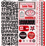 Bo Bunny Press - Crush Collection - Valentine - 12 x 12 Cardstock Stickers - Crush Combo, BRAND NEW