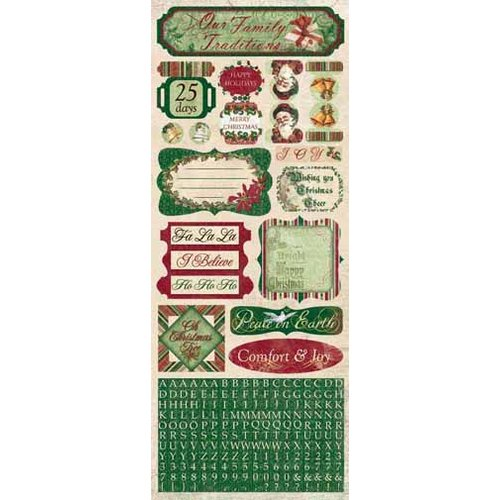 Bo Bunny Press - Father Christmas Collection - Cardstock Stickers - Comfort and Joy