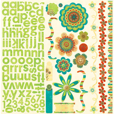Bo Bunny Press - Flower Child Collection - 12 x 12 Cardstock Stickers - Flower Child Combo, CLEARANCE