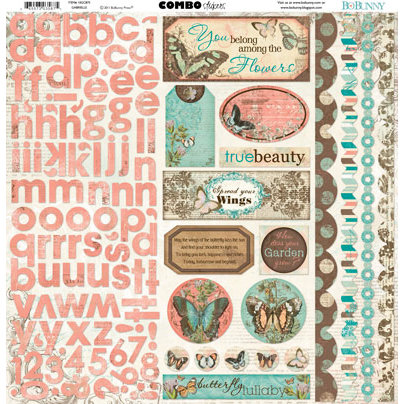 Bo Bunny - Gabrielle Collection - 12 x 12 Cardstock Stickers - Gabrielle Combo