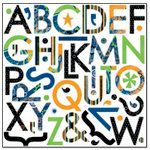 Bo Bunny Press - Grease Monkey Collection - 12 x 12 Supersized Cardstock Stickers - Grease Monkey Alphabet, CLEARANCE
