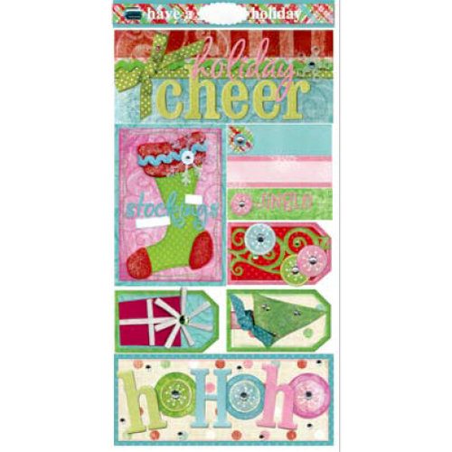 Bo Bunny Press - Holiday Cheer Collection - Cardstock Stickers - Holiday Cheer