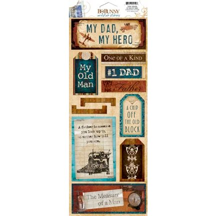 Bo Bunny - Weekend Market Collection - Cardstock Stickers - My Dad, My Hero