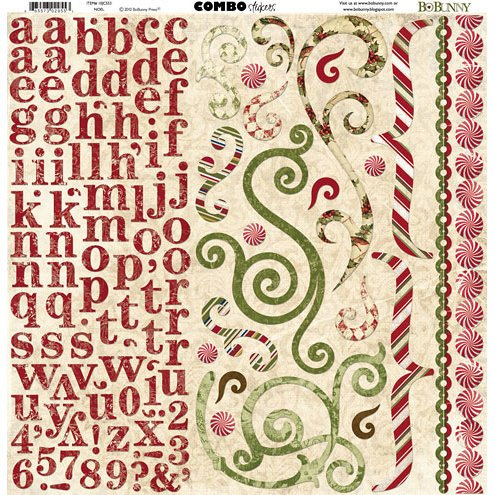 Bo Bunny Press - Noel Collection - Christmas - 12 x 12 Cardstock Stickers - Noel Combo