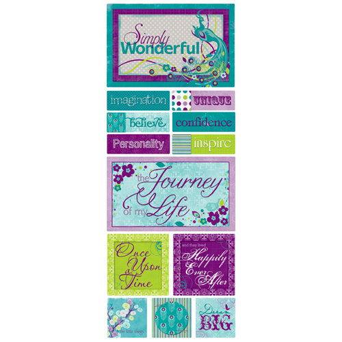 Bo Bunny Press - Peacock Lane Collection - Cardstock Stickers - Simply Wonderful