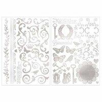 BoBunny - Foil Rub Ons - Filigree - Silver