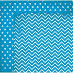 Bo Bunny - Double Dot Designs Collection - 12 x 12 Double Sided Paper - Chevron - Brilliant Blue