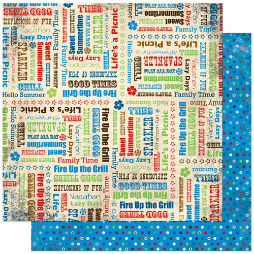 Bo Bunny Press - Block Party Collection - 12 x 12 Double Sided Paper - Block Party Good Times