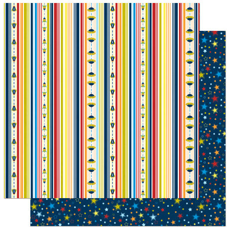 Bo Bunny Press - Blast Off Collection - 12 x 12 Double Sided Paper - Stripe