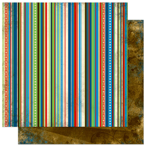 Bo Bunny Press - Block Party Collection - 12 x 12 Double Sided Paper - Block Party Stripe