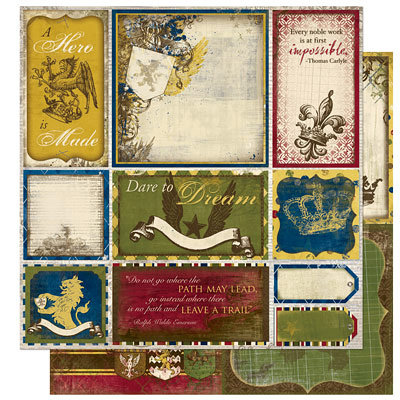 Bo Bunny Press - Cambridge Collection - 12 x 12 Double Sided Paper - Cambridge Cut Outs