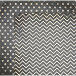 BoBunny - Double Dot Designs Collection - 12 x 12 Double Sided Paper - Chevron - Charcoal