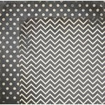 Bo Bunny - Double Dot Designs Collection - 12 x 12 Double Sided Paper - Chevron - Charcoal