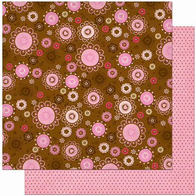 Bo Bunny Press - Crazy Love Collection - Valentine - 12 x 12 Double Sided Paper - Crazy Love Fudge and Flowers