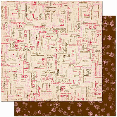 Bo Bunny Press - Crazy Love Collection - Valentine - 12 x 12 Double Sided Paper - Crazy Love More Than Words