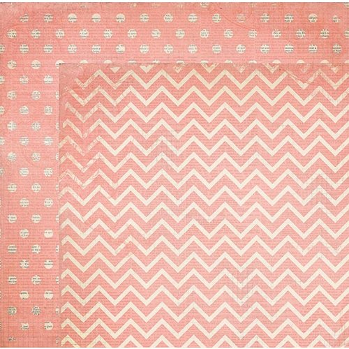 BoBunny - Double Dot Designs Collection - 12 x 12 Double Sided Paper - Chevron - Coral
