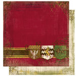 Bo Bunny Press - Cambridge Collection - 12 x 12 Double Sided Paper - Cambridge Crest