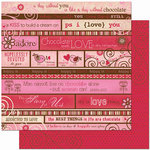 Bo Bunny Press - Crazy Love Collection - Valentine - 12 x 12 Double Sided Paper - Crazy Love Story