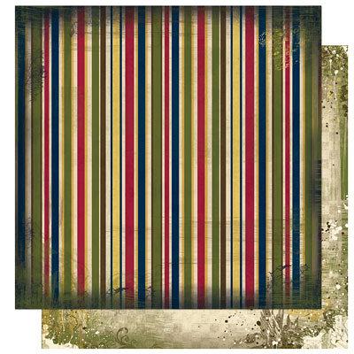 Bo Bunny Press - Cambridge Collection - 12 x 12 Double Sided Paper - Cambridge Stripe