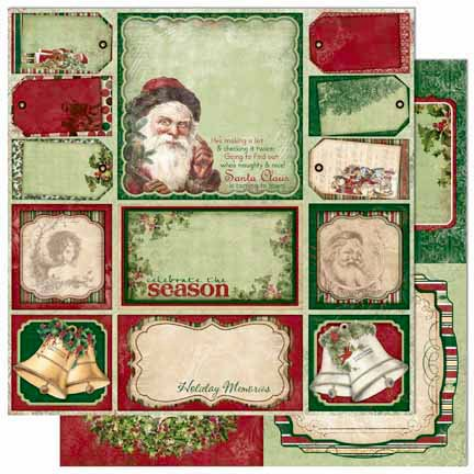 Bo Bunny Press - Father Christmas Collection - 12 x 12 Double Sided Paper - Cut Outs