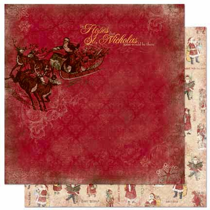 Bo Bunny - Father Christmas Collection - 12 x 12 Double Sided Paper - Sleigh