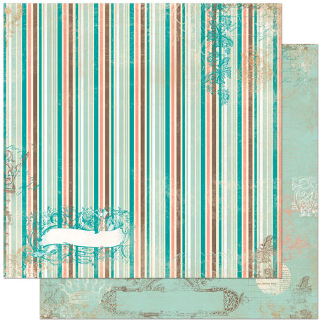 Bo Bunny Press - Gabrielle Collection - 12 x 12 Double Sided Paper - Stripe
