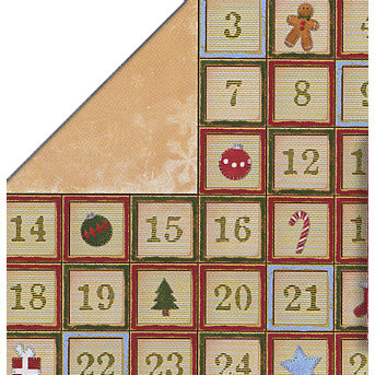Bo Bunny Press - Homespun Holiday Collection - Christmas - 12x12 Double Sided Cardstock Paper - Homespun Holiday Advent