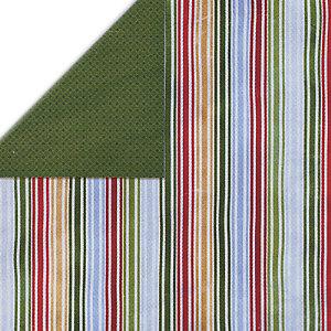 Bo Bunny Press - Homespun Holiday Collection - Christmas - 12x12 Double Sided Cardstock Paper - Homespun Holidays Stripe