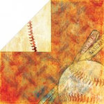Bo Bunny Press - Homerun Baseball Collection - 12x12 Double Sided Paper - Hey Batter