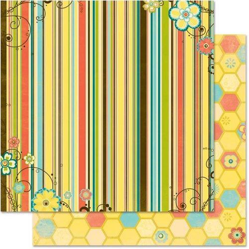 Bo Bunny Press - Hello Sunshine Collection - 12 x 12 Double Sided Paper - Stripe